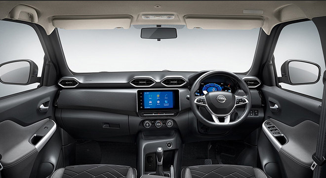 Interior é simples bem como as linhas adotadas pelo Nissan Magnite indiano