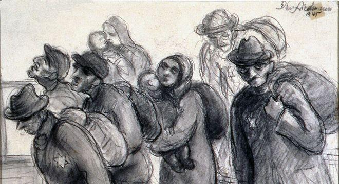 """Pintura """"No caminho para um campo de concentração"""""""