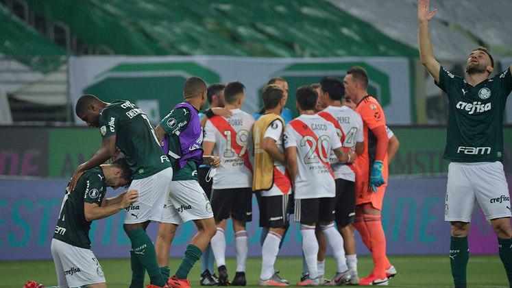 No duelo de volta, o roteiro se inverteu. A equipe de Abel Ferreira estava desorganizada e abalada em campo. O River Plate aproveitou e abriu 2 a 0. Os argentinos flertaram e quase fizeram o terceiro, mas o Verdão se segurou e avançou. Na final, venceu o Santos com gol de Breno Lopes nos minutos finais da partida, conquistando a Libertadores pela segunda vez