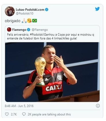 No seu aniversário em 2016, Podolski recebeu as felicitações do perfil oficial do Flamengo no twitter. O atacante agradeceu o carinho e interagiu com torcedores brasileiros.