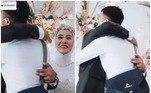 Depois do abraço, o ex oferece um aperto de mão ao noivo, que o puxa para agradecer em um gesto muito generosoLeia mais:Vestida de noiva, neta surpreende avó em estado terminal