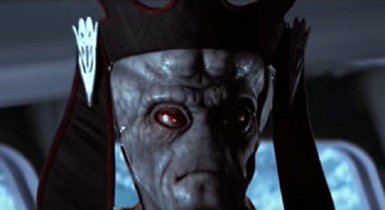 Nome do personagem: Nute Gunray - Filmes: Ameaça Fantasma, Ataque dos Clones, Vingança dos Sith (1999, 2002, 2005) - Sempre rodeado de figuras poderosas, foi Vice-Rei da Federação de Comércio e membro da Confederação de Sistemas Independentes.