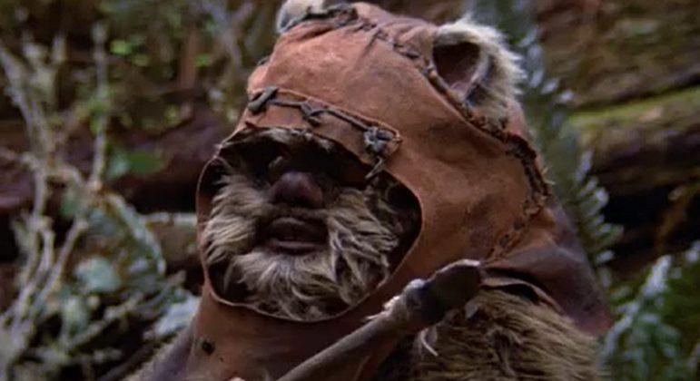 Nome do personagem: Wicket - Filme: O Retorno de Jedi (1983) - Guerreiro Ewok que ajuda a salvar a princesa Leia na Lua de Endor. Teve participação essencial na destruição da Segunda Estrela da Morte.