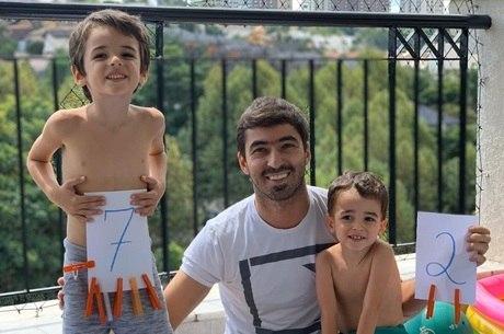 Norberto e os filhos Théo e Lucca