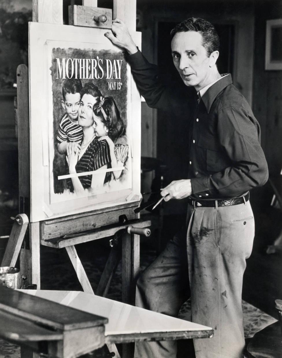 Norman Rockwell (1894-1978), pintor e ilustrador americano, trabalhando em um cartaz oficial do dia das mães de 1951