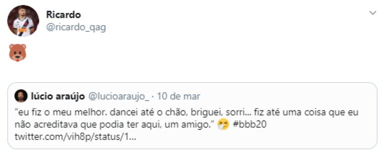 Nos últimos dias, Ricardo Graça, do Vasco, retuitou posts de exaltação a Babu e críticas a Pyong Lee, eliminado na última terça-feira. O zagueiro é seguido por 25,1 mil pessoas no Twitter e 124 mil no Instagram.