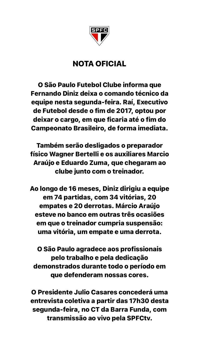 Nota oficial do São Paulo. Clube buscou proteger a imagem de Raí