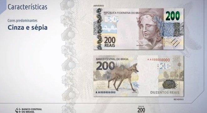 Nota de R$ 200 é em tons de cinza e sépia