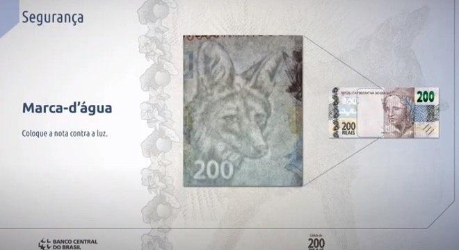 Marca d'água do lobo-guará aparece na nota de R$ 200