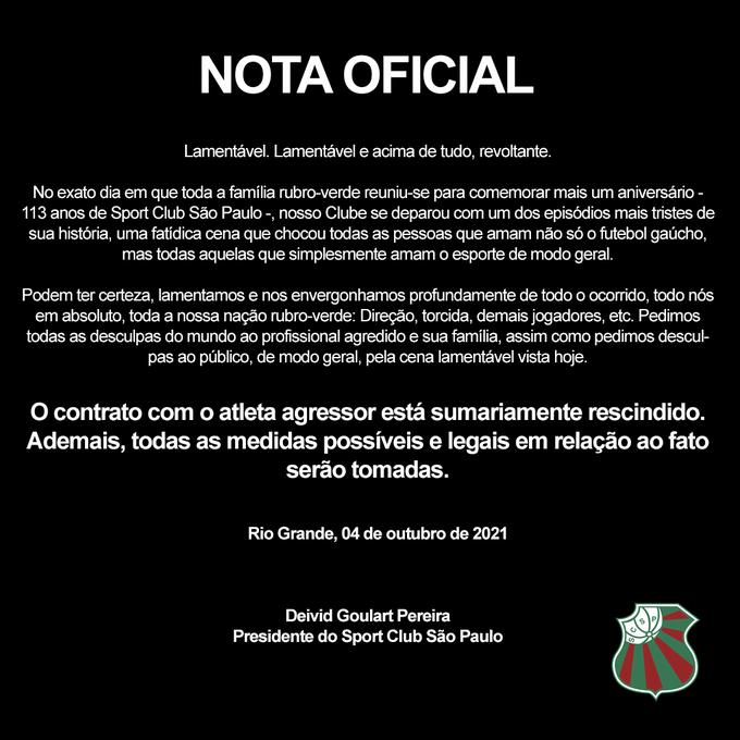 Nota oficial do São Paulo, rescindindo contrato com Willian