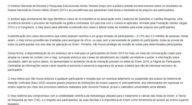 Inep publicou nota pública para comentar erros no Enem