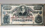 Nota de 200.000 réis com a imagem de D. Pedro II