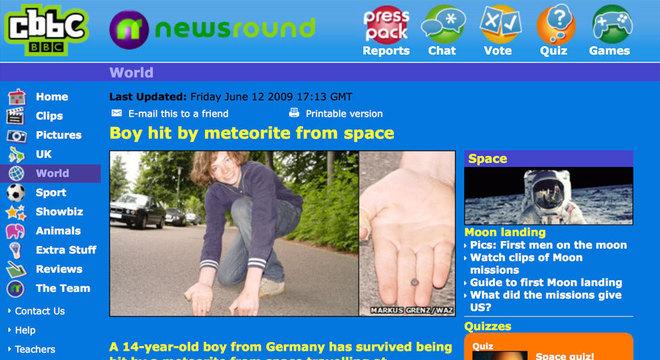O site infantil da BBC, CBBC, foi um dos que noticiou o suposto caso de Gerrit Blank, mas nunca foi confirmado se tal objeto seria mesmo um meteorito