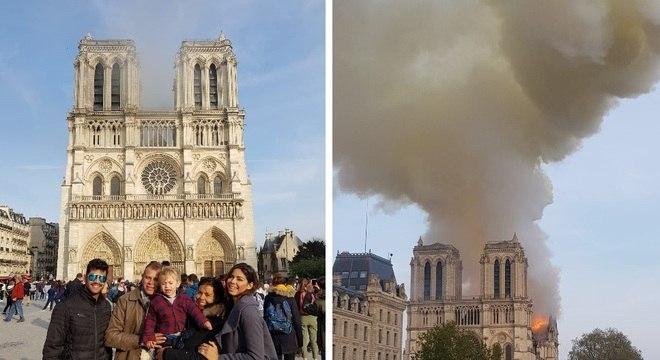 Camila (à direita) e a família tiraram foto no momento que a fumaça ficou forte