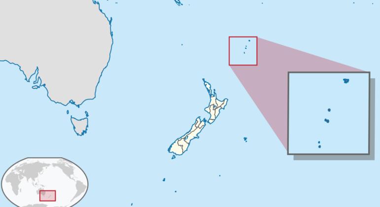 Região das ilhas Kormadec (no destaque) foi atingida por dois grandes temores nesta quinta
