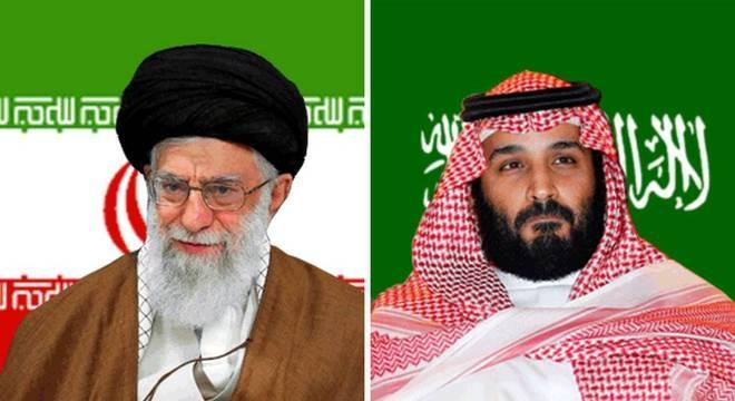 O aiatolá Ali Khamenei, líder do Irã, e o príncipe Mohammed bin Salman, príncipe herdeiro da Arábia Saudita