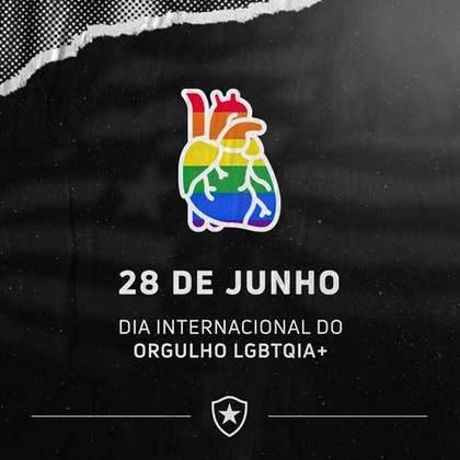 """O Alvinegro também fez uma publicação especial para o Dia Internacional do Orgulho LGBTQIA+, e escreveu que reforça a luta contra a LGBTQIA+fobia e que o """"futebol é para todos""""."""