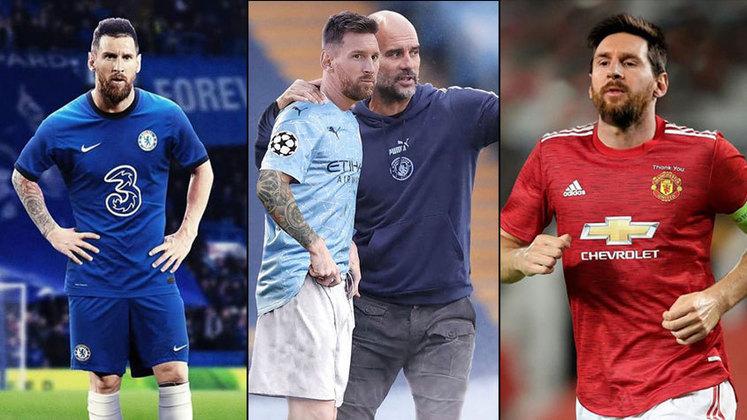 O anúncio que Messi está deixando o Barcelona gerou uma onda de especulações sobre o futuro do craque argentino no futebol. Apesar do Manchester City aparecer como destino mais provável, os torcedores não perderam a oportunidade de mostrar como ficaria Messi com outras camisas. Veja as montagens na galeria!