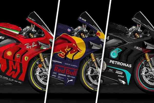 O artista do Instagram @ddl.design projetou a pintura atual das dez equipes do Mundial 2020 da Fórmula 1 nas motos da MotoGP. Como ficou esse cross entre as categorias? Veja agora os detalhes!