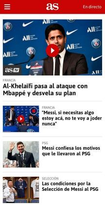 O As, também da capital espanhola, destaca diversos trechos da entrevista de Messi, mas também foca na situação de Mbappé