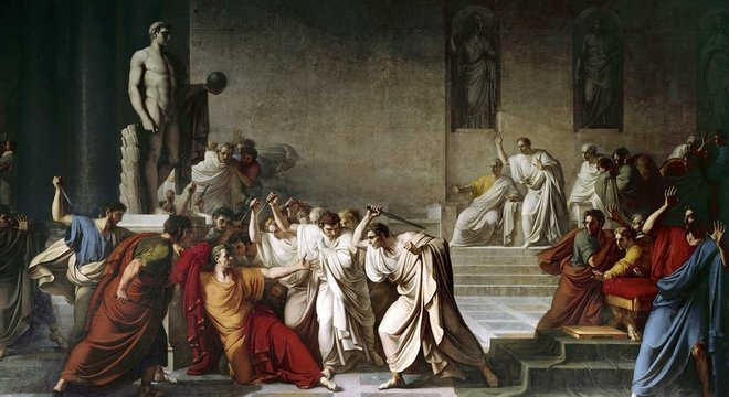 O assassinato de Júlio César no Senado romano, retratado nesta pintura de Camuccini, foi um ato de violência política que abalou a república
