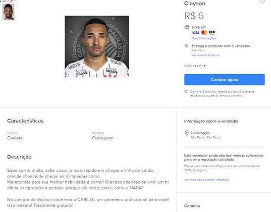 O atacante Clayson foi colocado à venda por um torcedor do Corinthians, que disse que o jogador pode chegar a Olimpíada como maratonista.