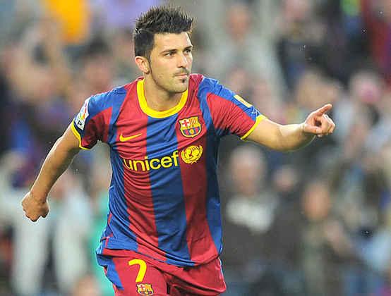 O atacante David Villa saiu do Valencia rumo ao Barça pelo valor de R$ 40 milhões de euros, em 2010.