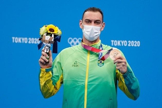 O Brasil está na final dos 4x200m livre, da natação.  A equipe formada por Fernando Scheffer (que levou bronze nos 200m livre e da foto), Luiz Altamir, Breno Correia e Murilo Sartori tentará o ouro às 00h26.
