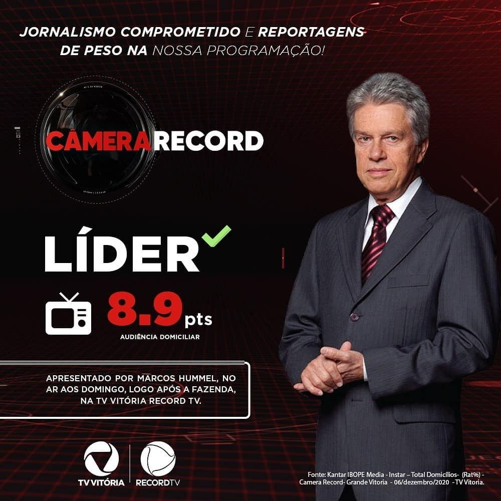 Fonte: Kantar IBOPE Media - Instar – Total Domicílios - (Rat%) - Camera Record - Grande Vitória - 06/dezembro/2020 - TV Vitória