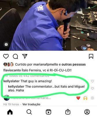 O comentarista da Globo, Flávio Canto, compartilhou em seu Instagram um vídeo da narração emocionante de Everaldo Marques no momento do ouro do surfista Ítalo Ferreira.