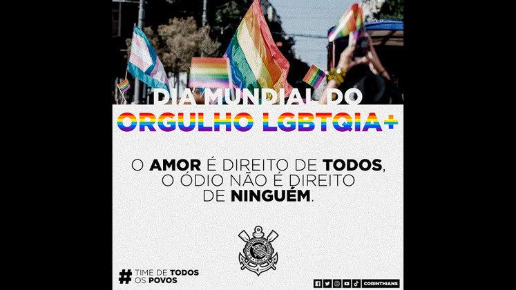 O Corinthians relembrou a triste marca do Brasil, que é o país que mais mata pessoas LGBTQIA+ no mundo, para prestar sua homenagem ao Dia Internacional do Orgulho LGBTQIA+. O clube também pediu respeito a