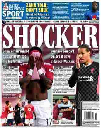 O Daily Express classificou como chocante a derrota dos dois grandes da Inglaterra