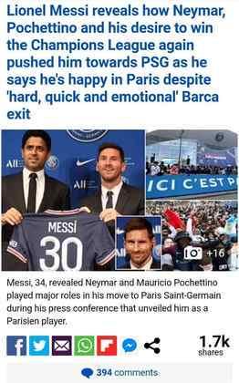 O Daily Mail também lembra da saída do argentino do Barcelona