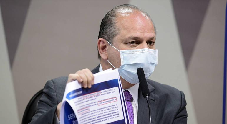 O deputado Ricardo Barros em depoimento à CPI da Covid: 'Eu estou documentado'
