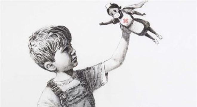 O desenho, que mostra um menino brincando com uma boneca de uma enfermeira, apareceu em um hospital da Inglaterra