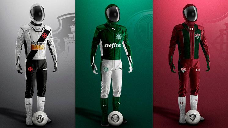 O designer Jadson Santos usou a criatividade para imaginar como os jogadores poderiam entrar em campo menos preocupados com a pandemia de coronavírus. Os uniformes criados você confere na galeria!