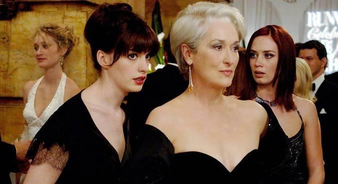 Anne Hathaway, Meryl Streep e Emily Blunt, respectivamente