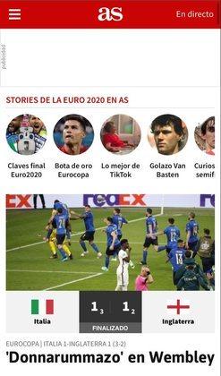 """O """"Diario AS"""" satirizou a conquista italiana em pleno território inglês como """"Donnarummazo"""", fazendo uma alusão ao """"Maracanazo"""", vivido pelo Brasil em 1950, ao perder uma Copa do Mundo em casa para o Uruguai."""