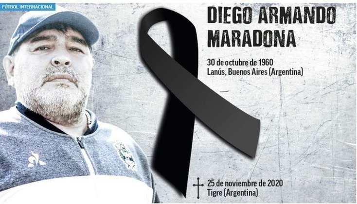 O diário espanhol 'Marca' também repercutiu a morte de Diego Armando Maradona.