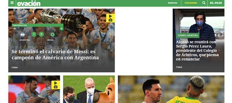 O El Pais ressaltou o título principalmente por parte de Lionel Messi, que finalmente conquistou um troféu com sua seleção.