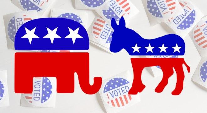 O elefante do partido Republicano e o burro do partido Democrata