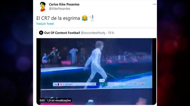 O esgrimista egípcio Mohamed Elsayed comemorou a sua vitória sobre o francês Yannick Borel imitando o ídolo Cristiano Ronaldo