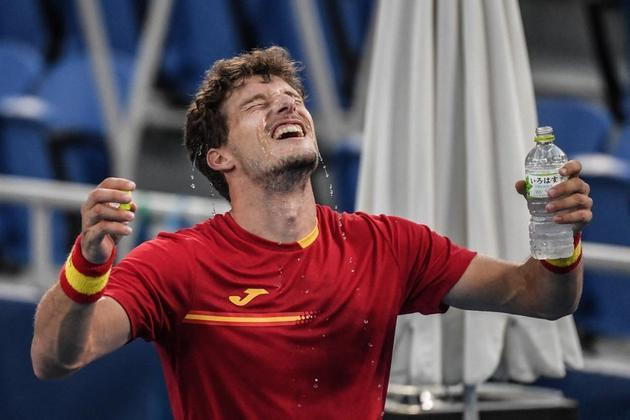 O espanhol Pablo Carreno Busta se emocionou após a vitória sobre o sérvio Djokovic, atual número 1 do mundo no tênis.