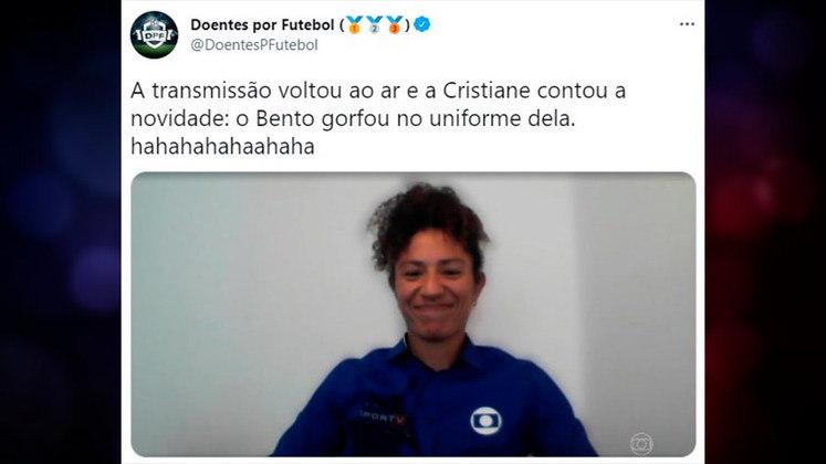 O filho de Cristiane, jogadora e comentarista da Globo na Olimpíada, golfou na camisa da mãe durante Brasil x Holanda