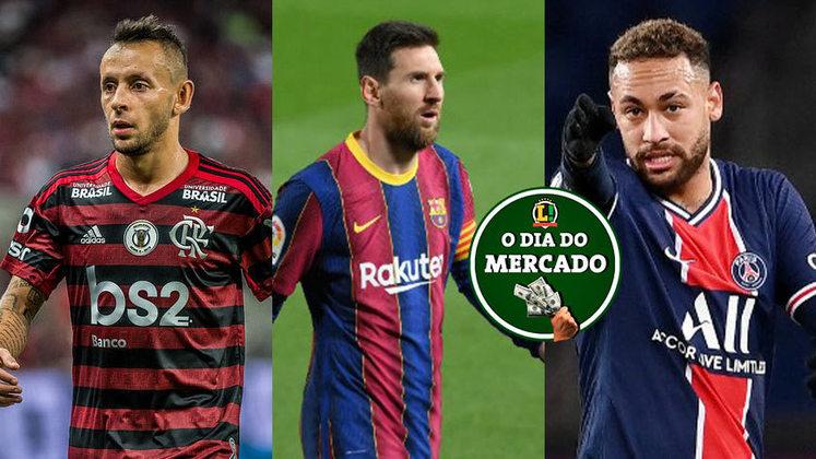 O final de semana no mercado da bola começou quente. Na Europa, um famoso empresário afirmou que há possibilidade de Neymar e Messi jogarem juntos novamente. No Brasil, o Flamengo colocou um ponto final na negociação com Rafinha. Veja essas e outras negociações do vaivém. (Por Redação do LANCE!)