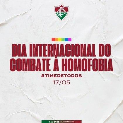 O Fluminense reforçou que é necessária a luta diária contra a LGBTfobia.