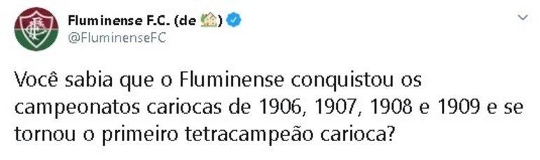 O Fluminense utilizou sua conta no Twitter para