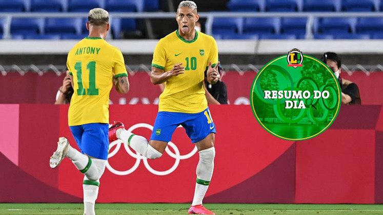 O futebol masculino foi o grande destaque do segundo dia da Olimpíada de Tóquio. A Seleção Brasileira roubou os holofotes e venceu na estreia com direito a hat-trick de Richarlison. O dia ainda teve show de Simone Biles no treino, novos casos de Covid-19 e muito mais. Confira o resumo do LANCE.
