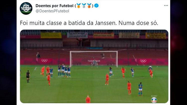 O gol de Janssen no empate da Holanda contra o Brasil no futebol feminino, rendeu brincadeiras com a vacina aplicada em uma dose.