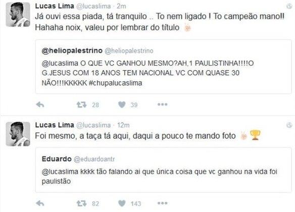 O jogador ainda respondeu torcedores do Palmeiras, após ter sido campeão paulista com o Santos, em 2016